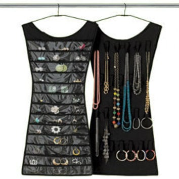 Little black dress hanging jewelry from the container store for Terrace jewelry organizer by umbra