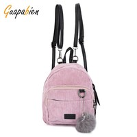 Guapabien Preppy Pink Cute Girl School Backpack Furry Ball Corduroy Small Mini Backpack for Teenagers Women Back Pack schoolbag