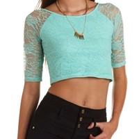 RAGLAN SLEEVE LACE CROP TOP