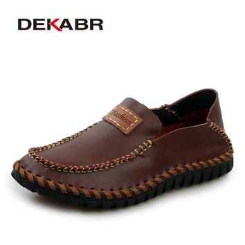Handmade Genuine Leather Men Loafers  Design Soft Moccasins Summer Shoes Men Breathable Flats Men Casual Shoes