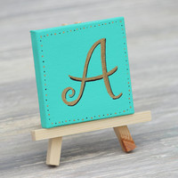 "Personalized Mini Canvas, Aqua with Gold Letter / Unique Place Card / 3"" x 3"" Canvas"