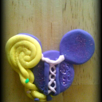Disney Inspired Princess Rapunzel Mickey Head Bow Center 1 inch