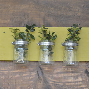 Upcycled Country Wooden Vintage Mason Jar Vase or Wall Sconce