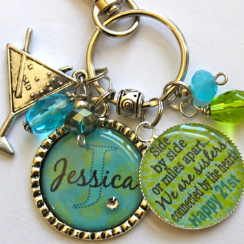 Personalized 21st birthday gift name sister aunt daughter nana grandma best friend side by miles apart we are sisters connected by the heart