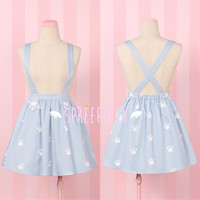 Super Adorable Cat Paw Light Blue Suspender Skirt Free Ship SP141516