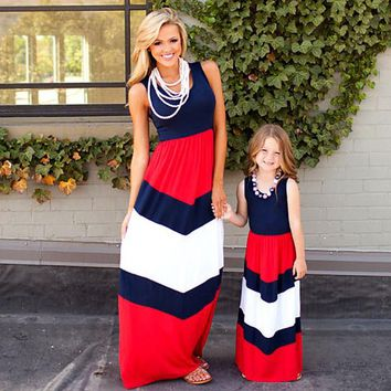 Mother and Daughter Matching Sleeveless Dresses