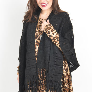 Black Open Knit Shawl with Fringe Hem