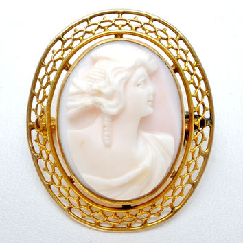 Victorian Angel Skin Coral Brooch Pin 14K Gold Frame