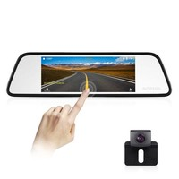 ONETOW AUTO-VOX M8 Mirror Dash Cam Backup Camera Kit 180¡ãHorizontal View Angle Back up Car Camera and 1296P Large Touch Screen with Lane Departure Warning System, Security Alarm & Motion Detection