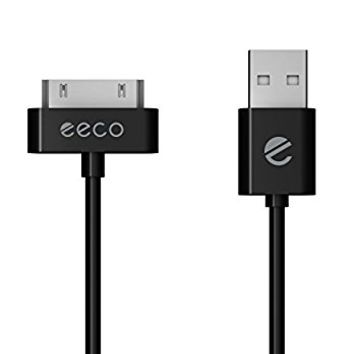 eeco Apple MFi Certified 6ft iPhone 4/4s Charger Cable, iPhone 3G/3GS, iPad 1/2/3, iPod Touch 1/2/3/4, iPod 5th Gen, iPod Classic, iPod Nano 1/2/3/4/5/6 (Black) 30-Pin-to-USB