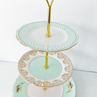 Mint Tiered Cake Stand Vintage China 3 tier by peonyandthistle