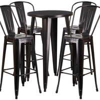 24'' Round Black-Antique Gold Metal Indoor-Outdoor Bar Table Set with 4 Cafe Barstools