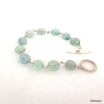 Rainbow Fluorite stacking bracelet, Blue Green Tennis Bracelet