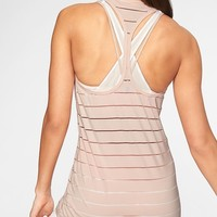 Stripe Mesh High Neck Chi Tank|athleta