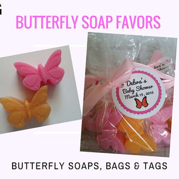 Butterfly Soap Party Favor - Wedding Favor Bridal Shower Party Favors CUSTOM Color & Scent for Baby Shower Celebration, Pack of 10