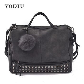 Women Bags Leather Tote Over Shoulder Handbags Sling Messenger Crossbody Fashion Motorcycle Fringe Scrub Rivet Female Handbags