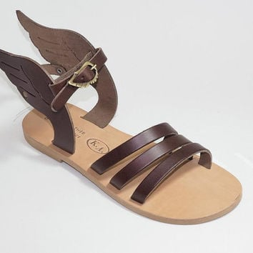 TOP SALES! Leather wing sandals, gold.18 COLOURS !!! Greek sandals 100% handmade! Hermes sandals! Gladiator sandals! Ancient Greek Sandals