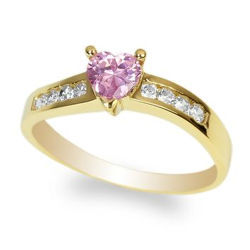 JamesJenny Ladies 10K Yellow Gold 0.5ct Heart Pink CZ Twisted Ring Size 4-10