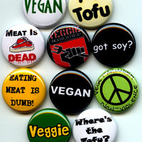 "VEGAN Proud Vegetarian 10 Pinback 1"" Buttons Badges Pins Set 2"