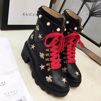 GUCCI Bee Women Fashion Embroidery Leather Boots Shoes