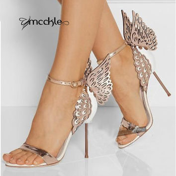 2016 New women shoes pumps wedding high heels butterfly heeled sandals bow party shoes woman Gold Purple 35-40 size X0627