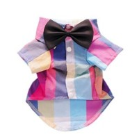 Fitwarm® Stylish Plaid Dog Shirt Western Dog T-Shirt Dog Clothes + Dog Wedding Bow, Colorful, Small