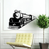 Train Wall Decal Locomotive Wall Decals Vinyl Sticker Interior Home Decor Vinyl Art Wall Decor Bedroom Nursery Kids Baby Decor SV5832
