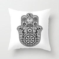 Hamsa Hand Eye Indian Buddha Ganesh Throw Pillow by Cabinet Of Pretty Things