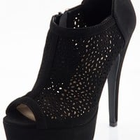 Peep Toes Perforated Platform Pumps - Black from Glam at Lucky 21 Lucky 21