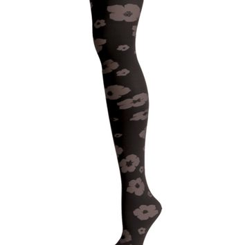 Flocked Floral Tights