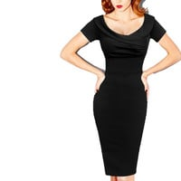 Womens Summer Elegant Vintage Pinup Retro Rockabilly Sexy Off Shoulder Ruched Party Bodycon Sheath Wiggle Dress