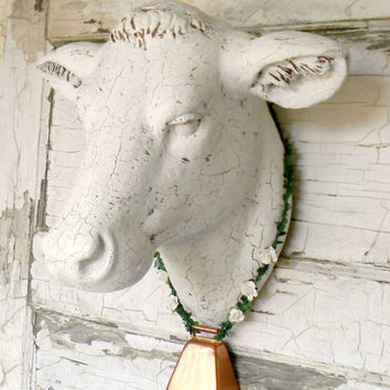 Faux Cow Head, Faux Taxidermy, Faux Cow Head,Faux Taxidermy Head, Cow Head Wall Mount, White Cow Head, Faux Taxidermy Head, French Country