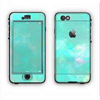 The Bright Teal WaterColor Panel Apple iPhone 6 LifeProof Nuud Case Skin Set