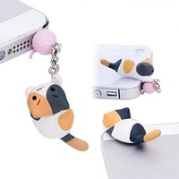 ZOEAST 30%OFF Cute Naughty Wool Ball Grey Calico Black Yellow Cat Kitten Kitty Dust Plug 3.5mm Smart Cell Mobile Phone Plug Headphone Jack Earphone Cap Ear Cap Dustproof Plug Charm iPhone Plug Charm for iPhone 4 4S 5 5S HTC Samsung Ipad 2 3 4 Mini Ipod Bla