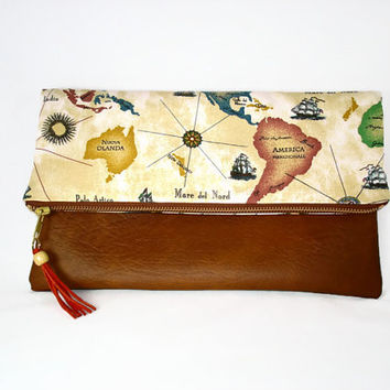 Chestnut Brown Vegan Leather Fold Over Zipper Clutch World Map Print Fold Over Clutch Flap Over Clutch