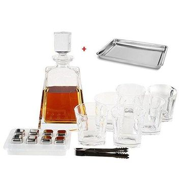 OPUL 10-Piece Whiskey Decanter Set of Crystal Whiskey Glasses, Whiskey Stones, Stainless Steel Tray and Tongs