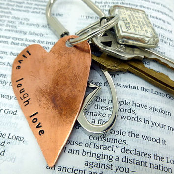 Hand Stamped Copper Keychain - Live Laugh Love - Heart