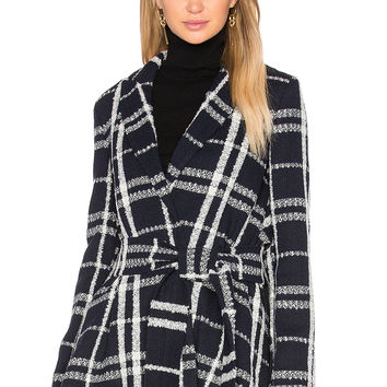 DEREK LAM 10 CROSBY Tie Belt Wrap Jacket in Midnight Multi