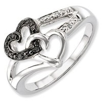 Genuine IceCarats Designer Jewelry Gift Sterling Silver Black & White Diamond Heart Ring Size 6.00: Jewelry