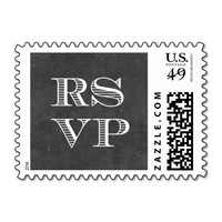 Simple Chalkboard RSVP Wedding Stamps