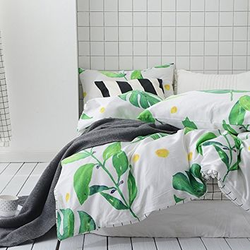 MKXI Soft Cotton Reversible Duvet Cover White Green Leaf Botanical Garden Bedding Set Queen