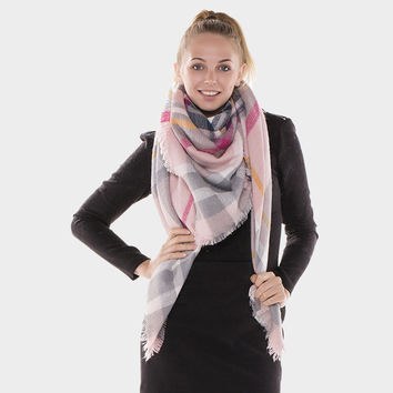 Neutral Plaid Fringed Trim Blanket Scarf - Pink & Grey