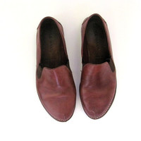 Vintage brown leather COLE HAAN slip on flats / women's shoes 7.5