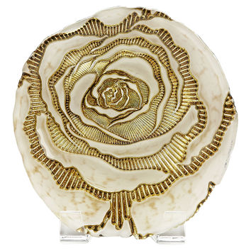 Rose Canapé Plate, Cream/Gold, Dinner Plates
