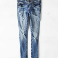 AEO Women's Mid-rise Super Skinny Jean (Medium Destroyed)