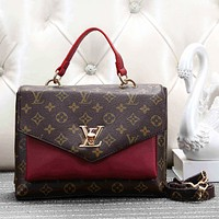 LV Louis Vuitton Women Fashion New Brown Check Monogram Leather Shoulder Bag Handbag