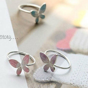 Stylish Gift Jewelry New Arrival Shiny Korean Accessory Butterfly Ring [6586195015]