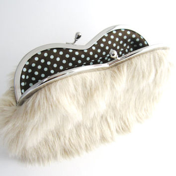 Sunglasses case Eyeglasses Case Clutch Purse - Beige Fur