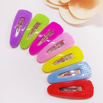 2pcs New Kids Korean Children Novelty Solid Hairpins Hair Accessories For Girls Hairclip Barrette Candy Color Clip Freeshipping