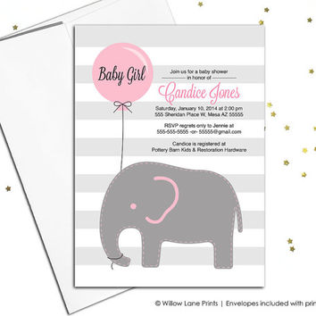 Elephant baby shower invitations for girl, pink gray baby shower, DIY printable or printed, baby elephant shower invite, balloons - WLP00791